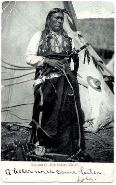 UTE Chief Tecumseh, late 1800s or very early 1900s. Postcard edited between 1901-1907.