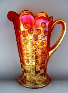 RASPBERRY by NORTHWOOD ~ PUMPKIN MARIGOLD CARNIVAL GLASS WATER PITCHER