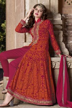 #Rakshabandan #SalwarSuit Buy This Magenta-Red Georgette Traditional Floor Length Salwar Kameez With Embroidery Work. Buy Now:- http://goo.gl/F9zIaD #CashOnDelivery & #FreeShipping only in India. For Other Query Just Whatsapp Us on +91-9512150402 Or Mail Us at info@lalgulal.com.