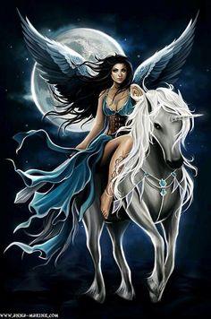 Blue Winged Faerie on Unicorn  horse