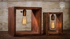 Featured is a beautiful handcrafted wood shadow box stained red mahogany. An antique brass finish knob socket is the center point to this lamp. Lampe Edison, Lampe Steampunk, Desk Lamp, Table Lamp, Wood Shadow Box, Bedside Lighting, Ideias Diy, Wooden Lamp, Pipe Lamp