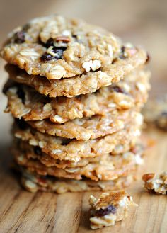 The Chewiest Oatmeal Cookies EVER - Egg-free with raisins and pecans.