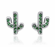 High Quality 925 Sterling Silver Earrings Dazzling Green Cactus Crystal Stud Earrings for Women Authentic Silver Jewelry Bijoux Sterling Silver Flowers, Sterling Silver Earrings Studs, Silver Ring, 925 Silver, Earring Studs, Silver Metal, Cactus Earrings, Women's Earrings, Wedding Earrings