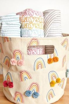 We're forecasting Happy Days with a chance of Rainbows! This bright rainbow print adorned with the sweetest colorful pom poms make this canvas storage Pint irresistible. Rainbow Theme, Rainbow Print, Rainbow Baby, Girl Nursery, Girls Bedroom, Lego Bedroom, Childs Bedroom, Kid Bedrooms, Boy Rooms