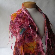 Pink Nuno Felted Wrap by BlindSquirrel on Etsy
