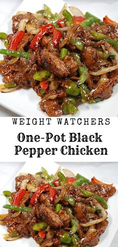 One-Pot Black Pepper Chicken - Healthy Food And Delicious Re. - One-Pot Black Pepper Chicken – Healthy Food And Delicious Recipes Recipes With Chicken And Peppers, Chicken Stuffed Peppers, Chicken With Bell Peppers, Chicken Bell Pepper Recipes, Peppered Chicken Recipe, Meals With Chicken, Chicken Freezer Meals, Ww Recipes, Cooking Recipes
