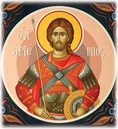 Saint Artemios the Martyr Religious Images, Religious Art, Luke The Evangelist, Orthodox Christianity, Byzantine Icons, Art Icon, Orthodox Icons, Persecution, Sacred Art