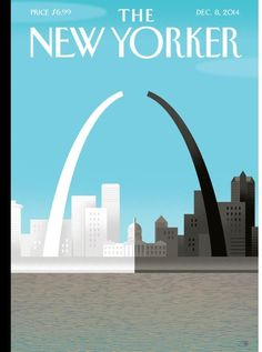 """The December 2014 issue of The New Yorker features a powerful """"Broken Arch"""" cover illustration by Bob Staake in response to the unrest in Ferguson, Missouri. """"I wanted to comment on the tragic r."""