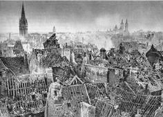 Caen 1944 . Rue Saint Pierre, photo prise du château. De gauche à droite les clochers de: Saint Sauveur, du vieux Saint Etienne et de Saint Etienne.