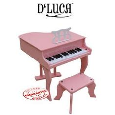 D'LUCA 30 KEYS CHILDREN BABY GRAND PIANO WITH BENCH PINK