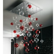 """Modern Chandelier Design Trends for 2012 from Lushome I love the playfulness, yet elegant quality of this """"chandelier"""". I think it could also be a great way to light up the high-ceilinged room as well as take up some of that vastness. Red Chandelier, Modern Chandelier, Chandelier Lighting, Bubble Chandelier, Iron Chandeliers, Simple Christmas, Beautiful Christmas, Christmas Diy, Christmas Globes"""
