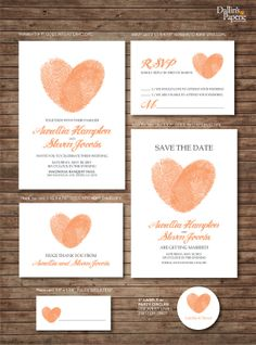 Wedding Invitation printables, Finger print Heart, Customized DIY, Thank you card, Save the date, RSVP, place card, envelope seal