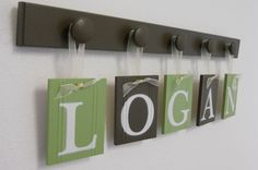 Nursery Decorations Wooden Letters Set via Etsy.