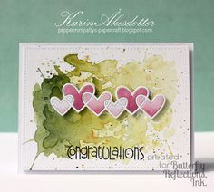 Paper Smooches Linked Hearts die; watercolor; ink smooshing; congrats; love; anniversary; Valentine