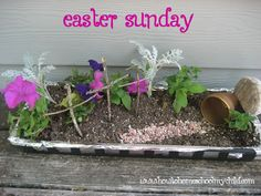 Easter Crafts – Real Flowers Easter Garden Activity