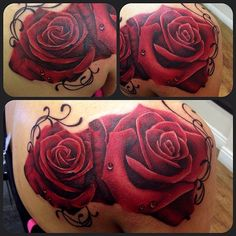 Realistic red rose tattoo by Jen Sterry #Rose #Tattoo #red #Realism