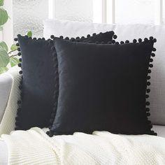 Topfinel Black Velvet Cushion Covers 16x16 Inch Soft Square Decorative Throw Pillowcases for Livingroom Sofa Bedroom 40cmx40cm,Pack of 2: Amazon.co.uk: Kitchen & Home