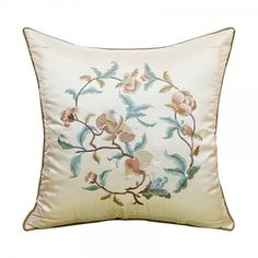 Chinoiserie flower embroidered pillows for living room decorative sofa cushions