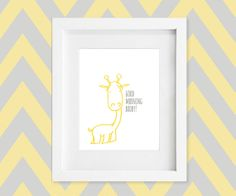 Giraffe Nursery Art Print in Yellow & Gray / by DaphneGraphics, $16.00 (colors can be customized)