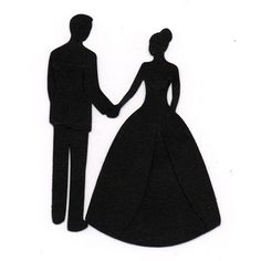 bride and groom silhouette | Holding hands Bride and Groom Wedding Silhouette die cut for scrap boo ...