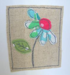 Appliqued daisy fabric and linen blank card