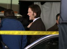 Jared Padalecki staying warm on set in Vancouver for Supernatural.