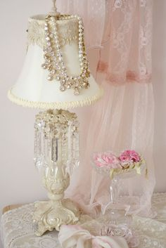 Lot of 2 Vintage Super Cute Floral Roses Lamp Shabby Cottage Chic painted Works