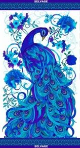 Gracious peacock in vibrant blues, turquoise, and violet on a white background. Mosaic Plume by Chong-a-Hwang for Timeless Treasures Fabrics Peacock Quilt, Peacock Decor, Peacock Colors, Peacock Art, Peacock Design, Peacock Images, Wal Art, Peacock Painting, Peacock Drawing