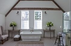 the Polished Pebble: Nancy Fischelson Architectural Designer: Part 1.  Painted wood floor with white walls.    Love the sconces.