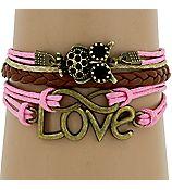 multi-strand infinity, owl and love bracelet