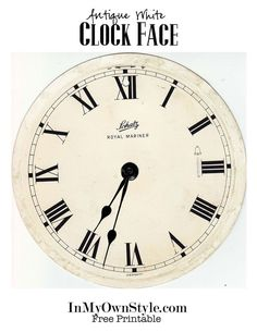 Decorate a plain wreath by turning it into a clock wreath with these free clock face printables to download. Choose between white and antique white faces. | In My Own Style