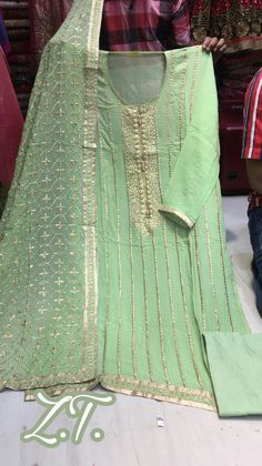 Rajasthani Gota Patti work Suits: Online suits Georgette zari work suit for order WhatsApp on 9768897928 Mehendi Outfits, Pakistani Wedding Outfits, Pakistani Dresses, Punjabi Girls, Punjabi Suits, Gota Patti Suits, Indian Fashion Dresses, A Line Kurta, Embroidery Suits Design