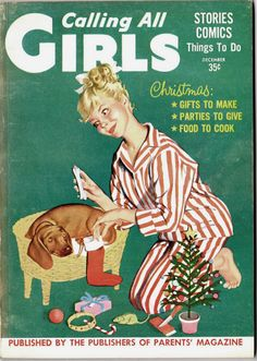 Vintage Calling All Girls magazine - Dachshund at Christmas