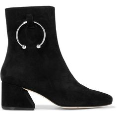 DORATEYMUR Nizip embellished suede ankle boots (2,195 MYR) ❤ liked on Polyvore featuring shoes, boots, ankle booties, dorateymur, suede leather shoes, suede shoes, zip shoes, black zipper shoes and mid-heel shoes