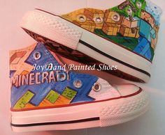 5bea1bd32bff5b Minecraft Painted Converse Shoes Custom Hand Painted Shoes for k