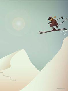 Skiing poster vissevasse