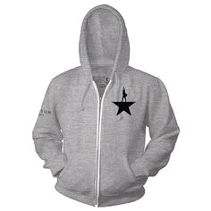 This unisex grey zip hoodie is embroidered with the key art on the front left breast and Hamilton An American Musical on the the right sleeve