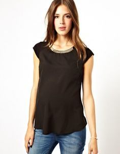 New Look Maternity Necklace Trim Tee