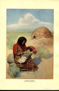 Book Illustration American Indians Desert Nursery Pima Mother Child 1928