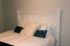 Need ideas on nightstands to match DIY Headboard Homemade Headboards, Diy Headboards, Headboard Ideas, Benjamin Moore Cloud White, Master Bedroom, Bedroom Decor, Bedroom Ideas, Homemade Furniture, White Paint Colors