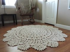 Cotton Lace Crochet Doily Round Area Rug Natural by EvaVillain
