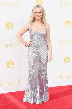 Amy Poehler wearing THEIA gown and Lorraine Schwartz jewelry at the 66th Annual Emmy Awards // #Emmys #redcarpet #Emmys2014
