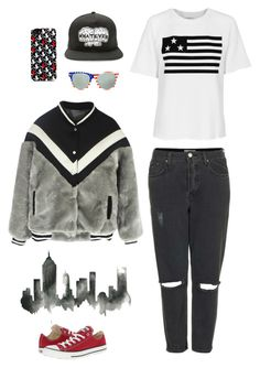 """""""NYC I'm coming!!!"""" by k27w ❤ liked on Polyvore featuring WALL, Converse, Petals and Peacocks, Zoe Karssen, Diane Von Furstenberg, Topshop, denim, converse, Newyork and fur"""