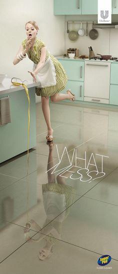 Super Pell Floor Cleaner: No mess #Oil #Advertising #Unilever