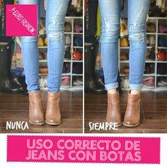 Utiliza tus jeans pegados con el ruedo hacia arriba si vas a combinarlos con botines de este estilo, nunca los uses dentro de los botines ya que no se ve elegante ni estiloso.