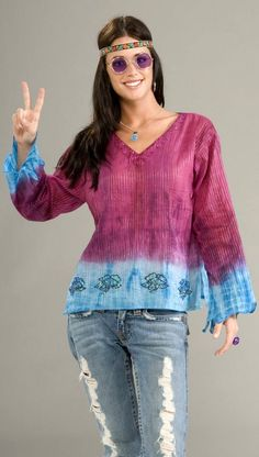 Adult Groovy Tie Dye Blouse 70's Costume - Candy Apple Costumes - Women's Costumes Under $30