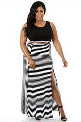 Black & White Striped Split Maxi Dress (Plus Size)