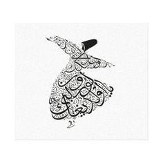 Sufi Rumi Dervish Islamic Calligraphy CUSTOMIZE Gallery Wrap Canvas