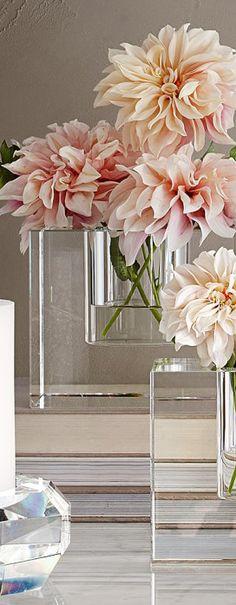 Elegant crystal block vases    Simple floral arrangement