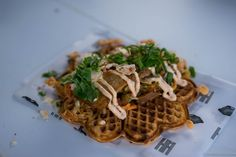 Kimchi waffle with caramelized pork belly from Hitchhiker Organic Food Market, Festivals 2015, Pork Belly, Kimchi, Organic Recipes, Norway, Waffles, I Am Awesome, Good Food